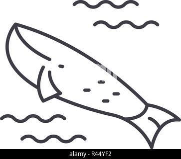 Whale in the ocean line icon concept. Whale in the ocean vector linear illustration, symbol, sign - Stock Photo