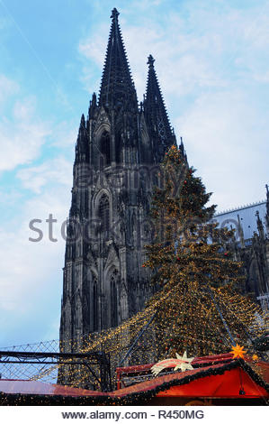 christmas market at the dom - Stock Photo