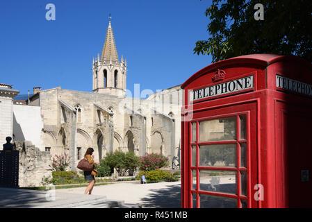 Church of Saint Martial, Park & Garden, & British Red Telephone Box on Agricol Perdiguier Square Avignon Provence France - Stock Photo