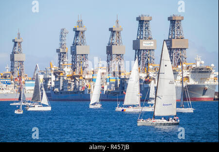 Start of the 2018 ARC (Atlantic Rally for Cruisers) transatlantic race/crossing in Las Palmas, Gran Canaria, Canary Islands, Spain. - Stock Photo