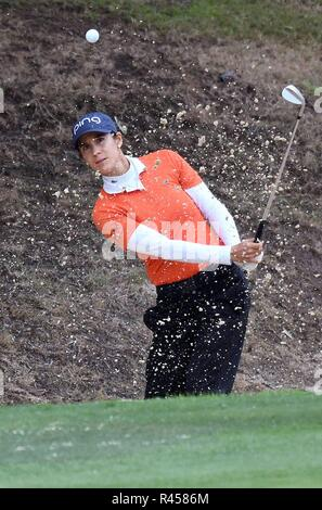 Marbella, Spain. 25th Nov, 2018. Spanish golf player Azahara Munoz in action during the Andalucia Costa del Sol Spain Open 2018 at La Quinta Golf & Country Club in Malaga, Andalusia, Spain, 25 November 2018. Credit: Alf/EFE/Alamy Live News - Stock Photo