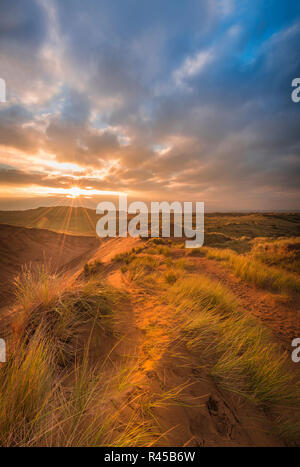 Braunton, Burrows, Devon. 25th Nov, 2018. UK Weather - After an overcast but mild day on the coast of North Devon, the sun sets over the extensive dunes of Braunton Burrows. Credit: Terry Mathews/Alamy Live News - Stock Photo