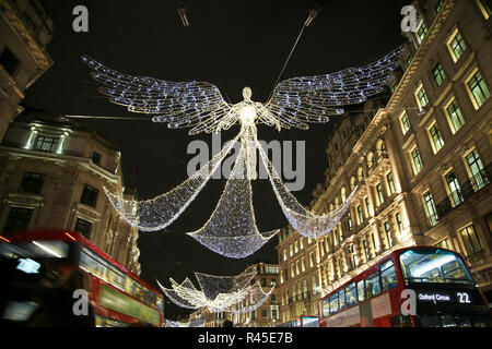 United Kingdom. 25th Nov, 2018. Christmas lights and decorations are seen on Regents Street. Credit: Dinendra Haria/SOPA Images/ZUMA Wire/Alamy Live News - Stock Photo