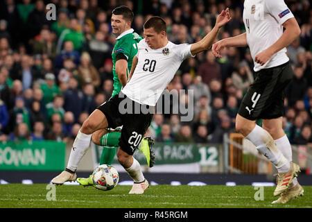Belfast, Northern Ireland, United Kingdom. 18 Nov 2018.  Northern Ireland vs Austria, UEFA Nations League.  National Stadium at Windsor Park.  Credit: XtraTimeSports (Darren McKinstry) / Alamy Live News. - Stock Photo