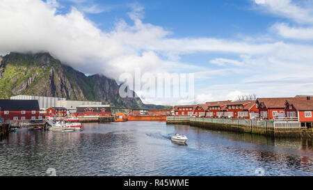 Beautiful rorbu or fishermans houses in Svolvaer Lofoten Islands in Norway - Stock Photo