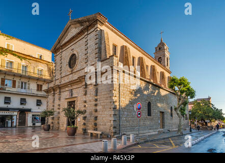 Eglise St-Jean-Baptiste, 16th century church, place de la Republique, after early morning rain, in Porto-Vecchio, Freto microregion, Corse-du-Sud, Cor - Stock Photo
