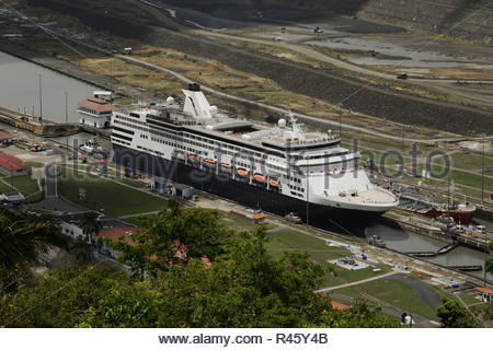 Aerial view of cruise ship at Pedro Miguel Locks in Panama Canal, Panama - Stock Photo