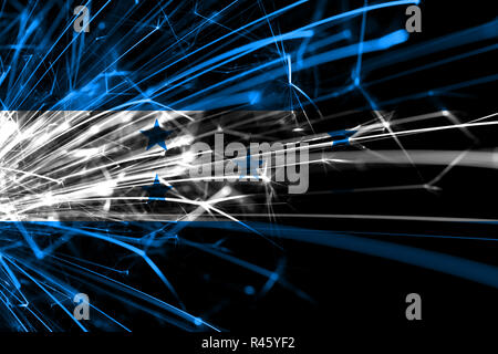 Honduras abstract fireworks sparkling flag. New Year, Christmas and National day concept - Stock Photo