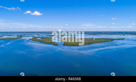 Southwest Florida beach and coastline aerial panoramic images with blue water and sandy beaches. - Stock Photo