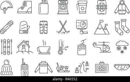 Holiday ski resort icon set. Outline set of holiday ski resort vector icons for web design isolated on white background - Stock Photo