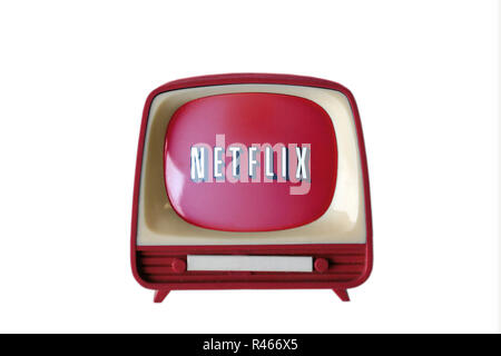 TV television with netflix logo on screen isolated on a white background, close-up - Stock Photo