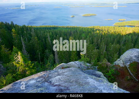 View of the lake Pielinen in sunny clear day ,Koli, Finland - Stock Photo