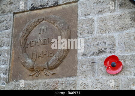 Stone Plaque remembering the First World War - Stock Photo