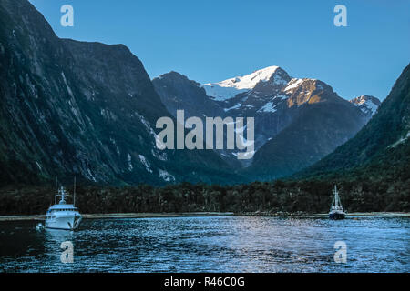 blue hour in milford sound in new zealand - Stock Photo