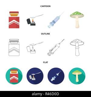 Cigarettes, a syringe, a galoyucinogenic fungus, heroin in a spoon.Drug set collection icons in cartoon,outline,flat style vector symbol stock illustr - Stock Photo