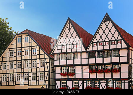 half-timbered houses on the market in westphalia soest - Stock Photo