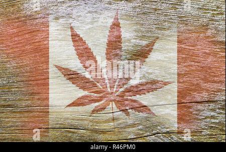 Flag of Canada with marijuana, Cannabis in Canada - Stock Photo
