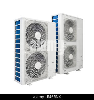 Air conditioner condenser unit isolated on white background - Stock Photo
