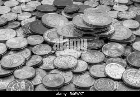 macro shot of euro and cent coins with lettering unity and justice and freedom - Stock Photo