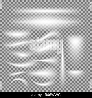 Vector set of glowing light bursts on grey white - Stock Photo