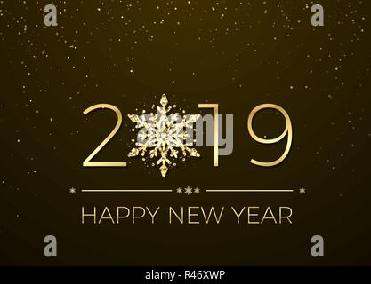 Happy New Year 2019. Greeting card text design. New Years banner with golden numbers and snowflake. Vector illustration - Stock Photo