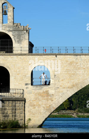 Pont d'Avignon or Pont Saint-Bénézet Medieval Bridge over the Rhone River at Avignon Provence France - Stock Photo