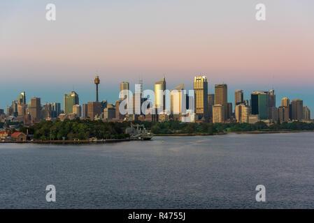 Sydney, Australia--February 15, 2016. Photo of  the Sydney skyline shortly after sunrise.