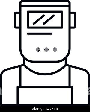 Welder man icon, outline style - Stock Photo