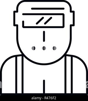 Welder worker icon, outline style - Stock Photo