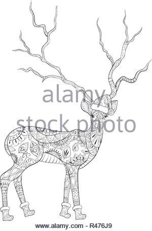 78bea0df810d4 A cartoon deer wearing a Christmas cap and scarf with big horns full ...