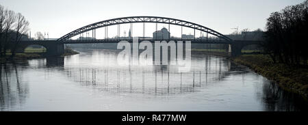magdeburg on the river elbe with the sternenbrücke - Stock Photo