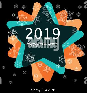 2019 happy near year press - Stock Photo