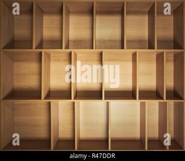 Wooden empty closet shelves. Book shelf blank education library background.