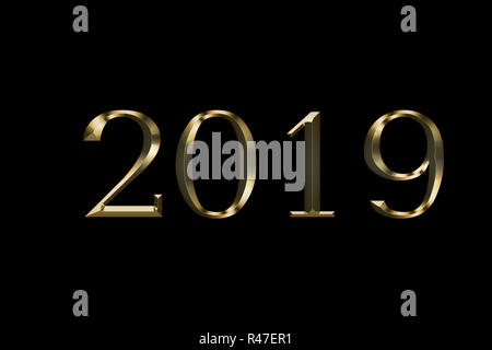 Numeral 2019, isolated on black background, 3d render . Gold number 2019 stock photo . Gold sparkling Numbers Design of greeting card of Happy new year design. Gold Shining Pattern. - Stock Photo