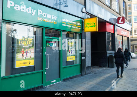 City centre gambling shops, bookmakers, thriving in a poor economy. Bradford, West Yorkshire, UK - Stock Photo