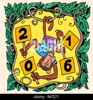 Monkey new year 2016 - Stock Photo