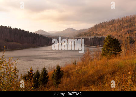 Panoramic view on bridge over the Bajer Lake in Fuzine, Gorski kotar, Croatia - Stock Photo