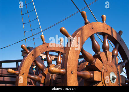 Double steering wheel of big sailing boat - Stock Photo