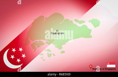 Singapore map with location map pin and Singapore flag on travel map of Asia - Republic of Singapore - Stock Photo