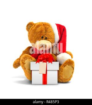 Teddy bear and gift box with red ribbon - Stock Photo