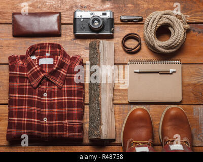 Men&#39 s accessories on the wooden table - Stock Photo