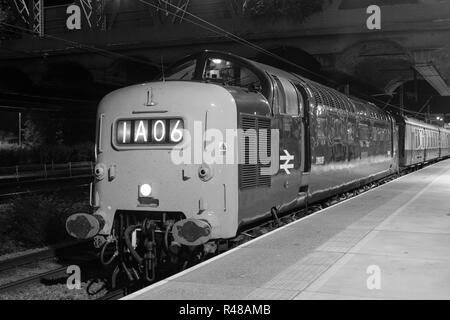 Class 55 Deltic, 9009 Alycidon, at Peterborough Station with The Talisman railtour - Stock Photo
