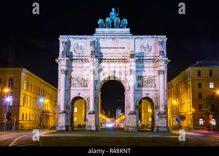 Victory Gate triumphal arch (Siegestor) in Munich, Germany - Stock Photo
