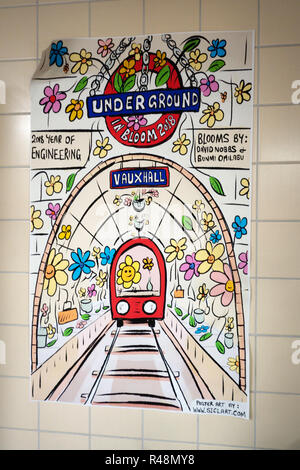 Underground artwork poster at Vauxhall Tube Station - Stock Photo