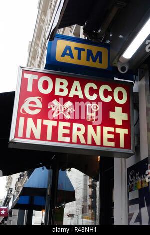 Tobacco plus Internet sign in Soho, london - Stock Photo