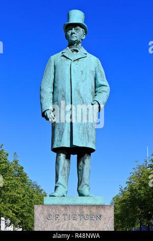Statue of the Danish financier and industrialist Carl Frederik Tietgen (1829-1901) in Copenhagen, Denmark - Stock Photo