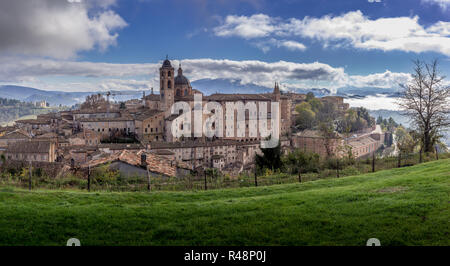 Aerial view of the Urbino Ducal Palace medieval world heritage site in Marche Italy - Stock Photo