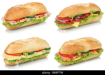 collage sandwiches baguettes with salami,ham and cheese cut out - Stock Photo
