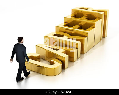 Businessman and career steps leading through the gold cup. 3D illustration. - Stock Photo