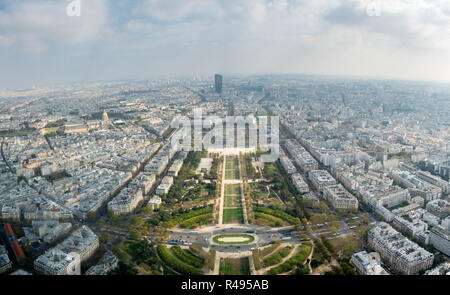 Panoramic View from The Eiffel Tower Looking South East to Champ de Mars - Stock Photo